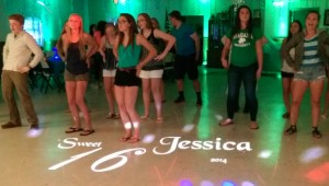 projected monogram at a sweet 16 party