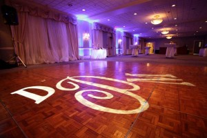 DJ Johnny Only's Uplighting at Traditions with Monogram on the dance floor