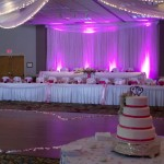 Uplights accenting the head table